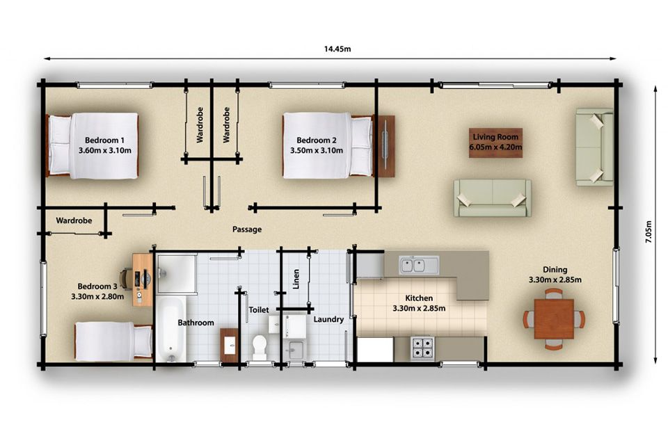 Bellbird 107 House Plan (3 Bedroom) Versatile Timber