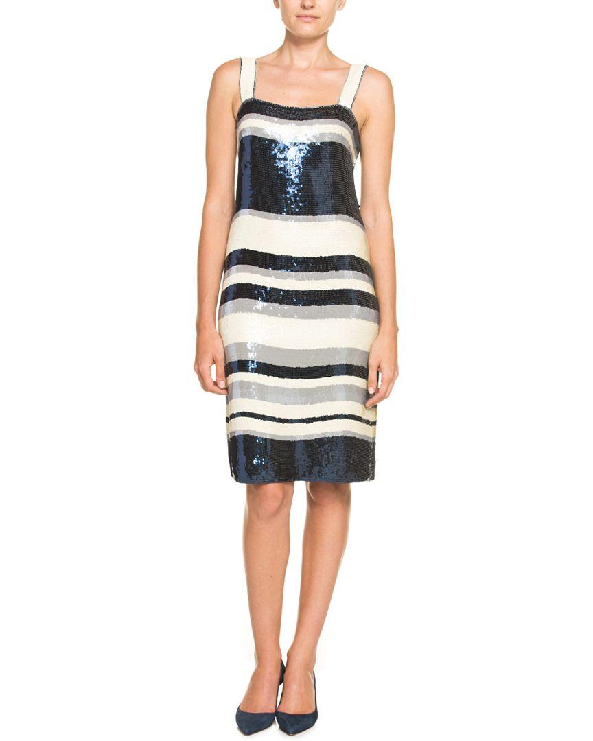 Tory Burch Edna Ivory Multi Stripe Sequin Dress Is On Rue It Now