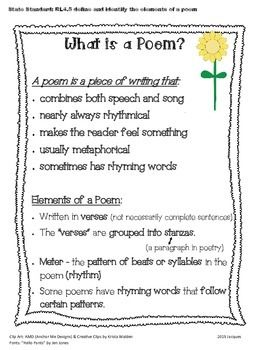 Anchor Chart And Reference Page For Student Reading Writing Notebook Based On The Fourth Grade Standard Rl4 5 Which St Poem Rhyming Words Paraphrase Definition In Poetry