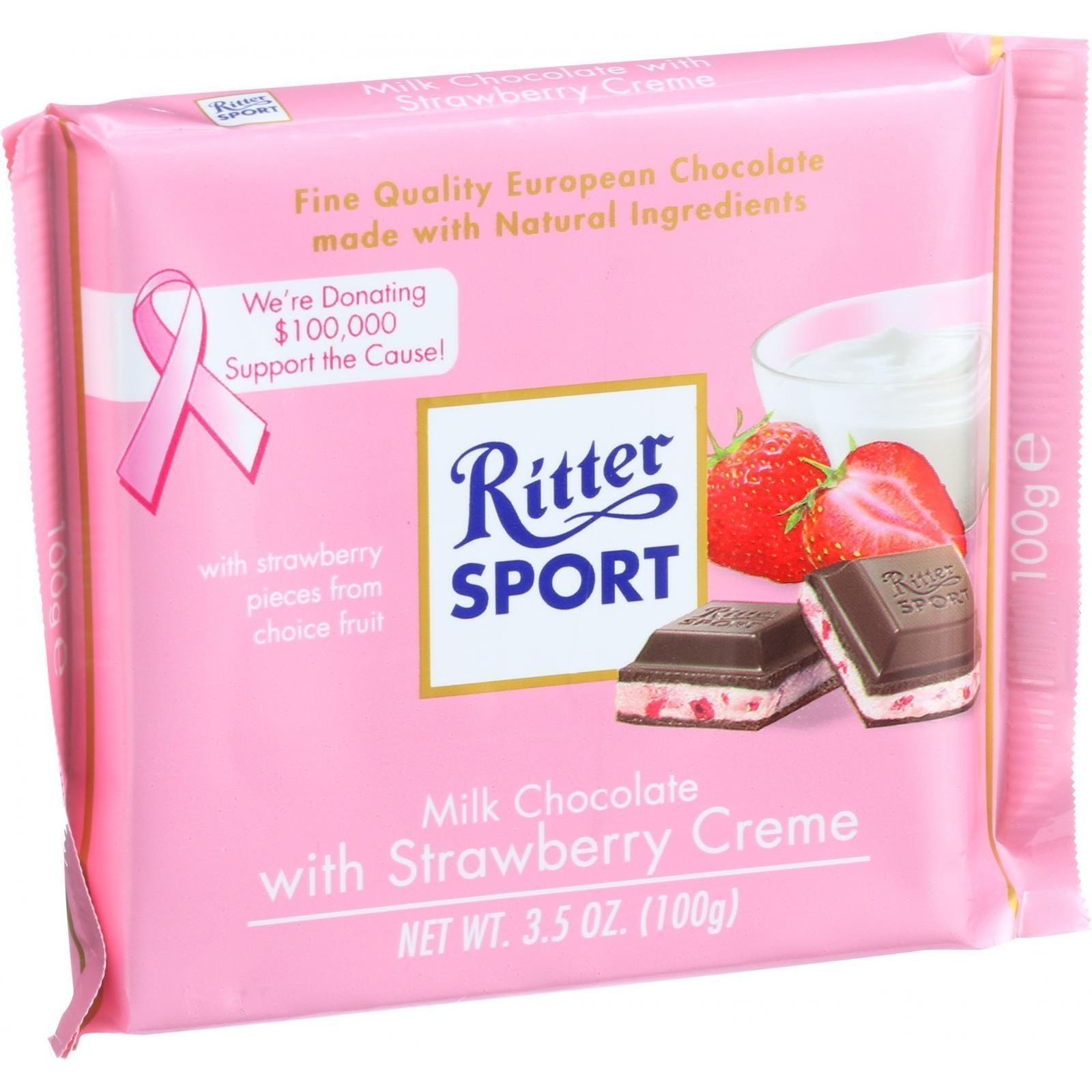 Ritter Sport Chocolate Bar Milk Chocolate Strawberry