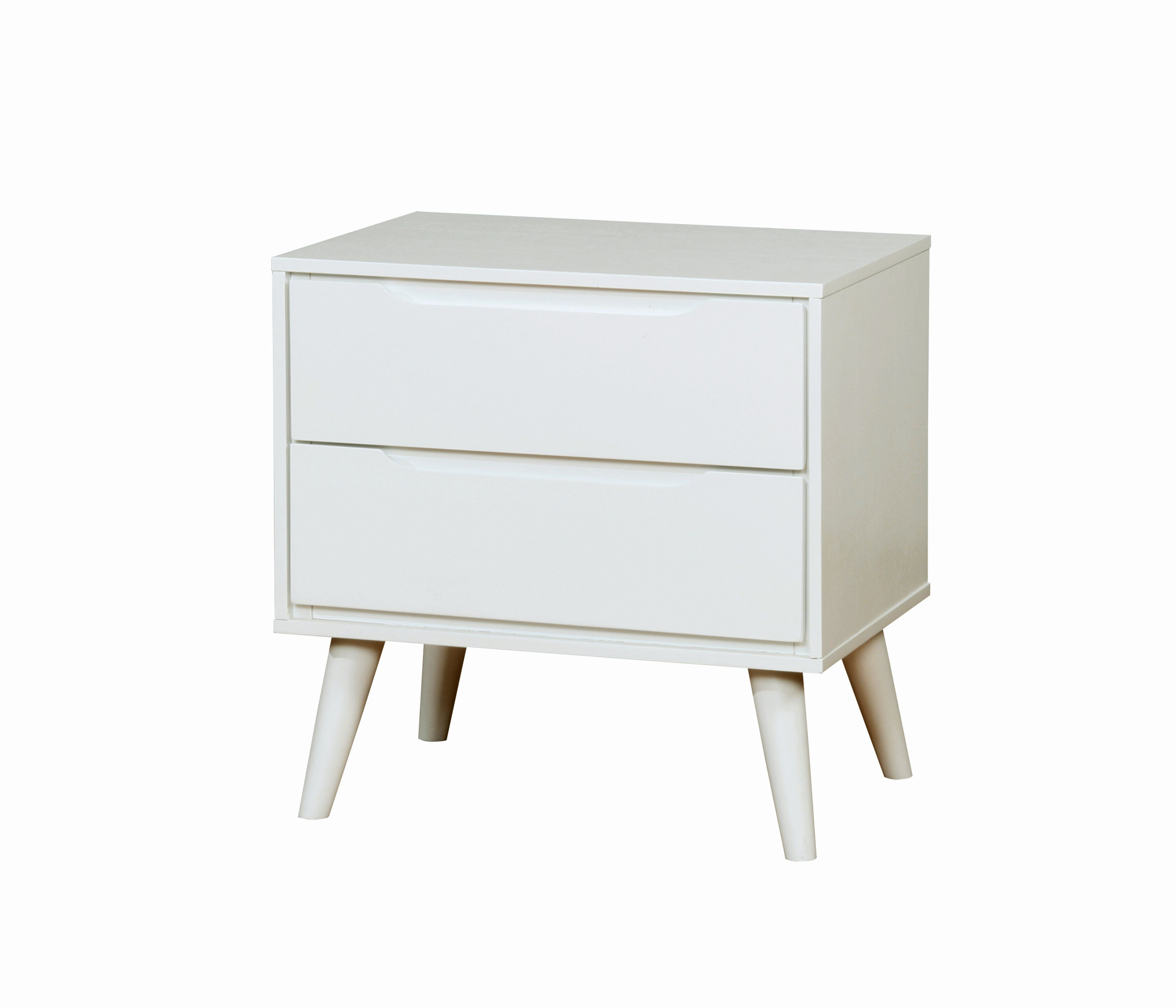 Silvan Mid Century Modern 2 Drawer Nightstand Furniture