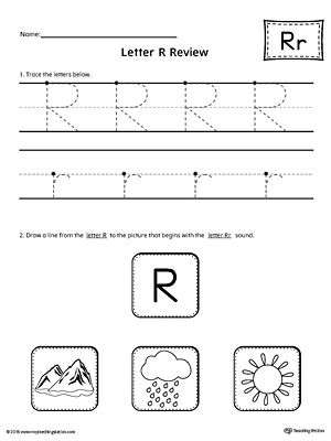 Letter R Review Worksheet Worksheet.Use the Letter R Review worksheet to help your student practice tracing and identifying the beginning sound of the letter R.