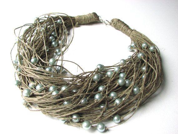 Perle grigie - grande collana di lino