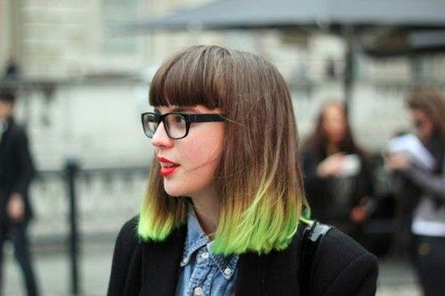 Light Lime Green Tips Hair Green Hair Ombre Dip Dye Hair Hair