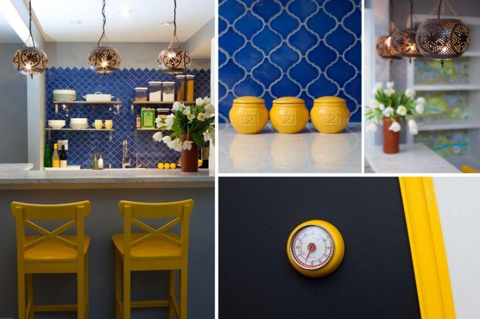 Yellow Transitional Kitchen With Teal Backsplash   HGTV