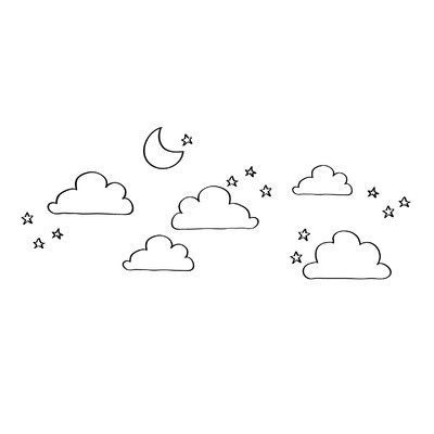 Dana Decals Doodle Moon Clouds And Stars Wall Decal Mini