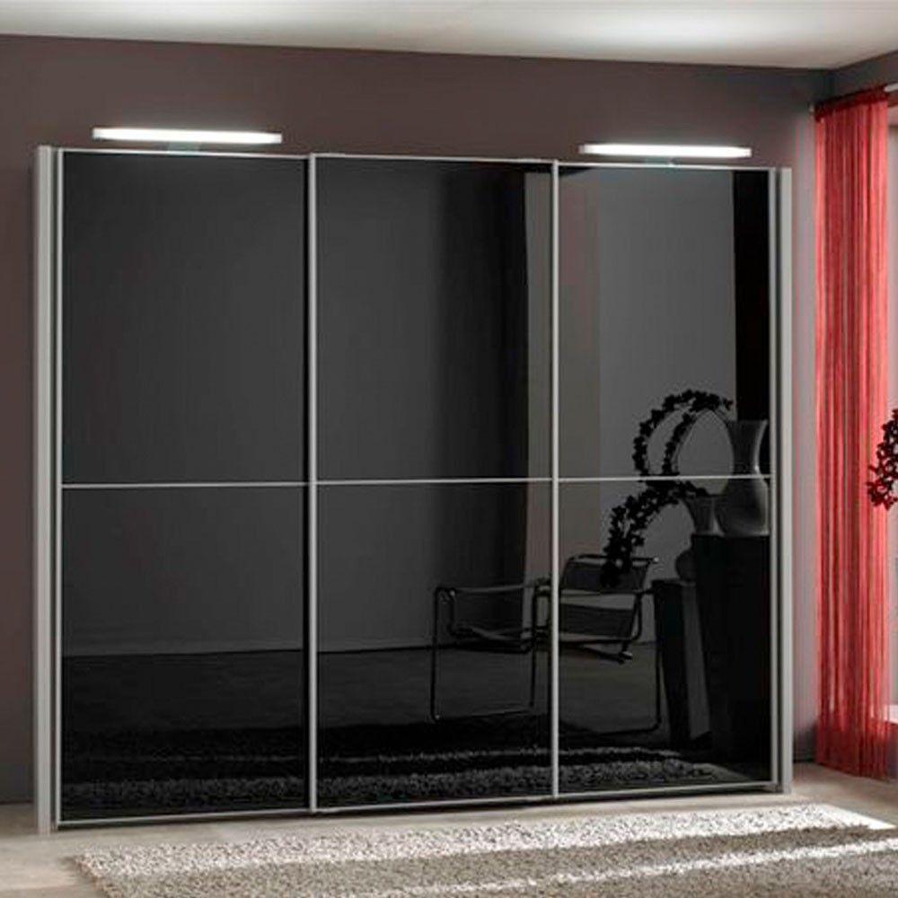 Engaging Black Glass Sliding Door Wardrobe Design Ideas