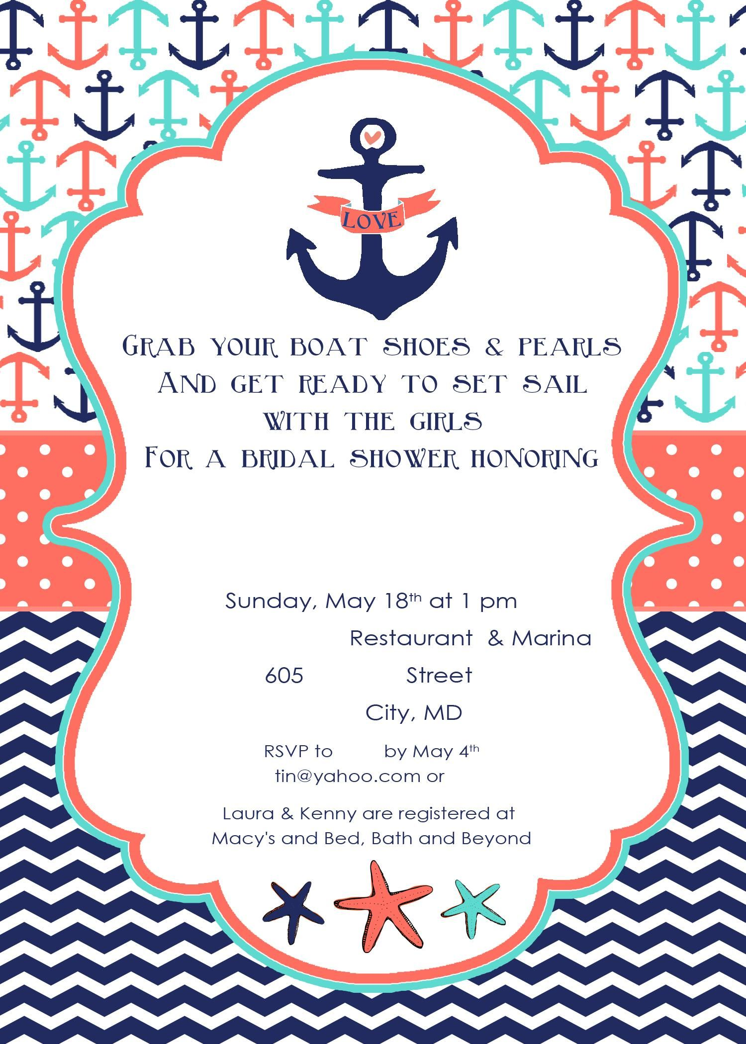 Nautical Bridal Shower Invite Front The Bride Loves All Things