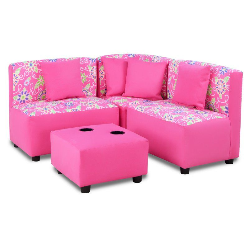 Zippity Kids Sectional Sofa Set Daisy Doodle with Passion Pink - 1250DDPP  sc 1 st  Pinterest : kids sectional - Sectionals, Sofas & Couches