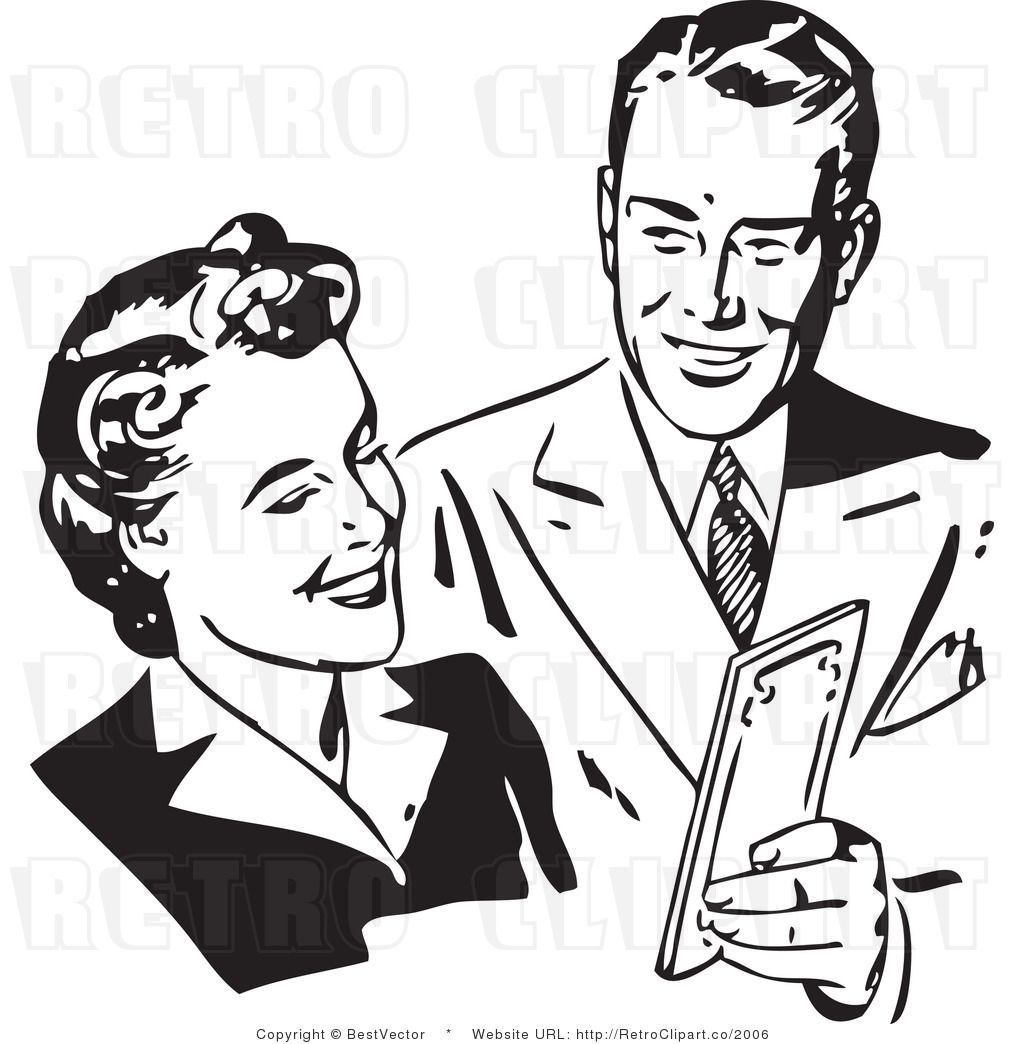 Retro Clip Art Of A Happy Man And Woman Discussing Money
