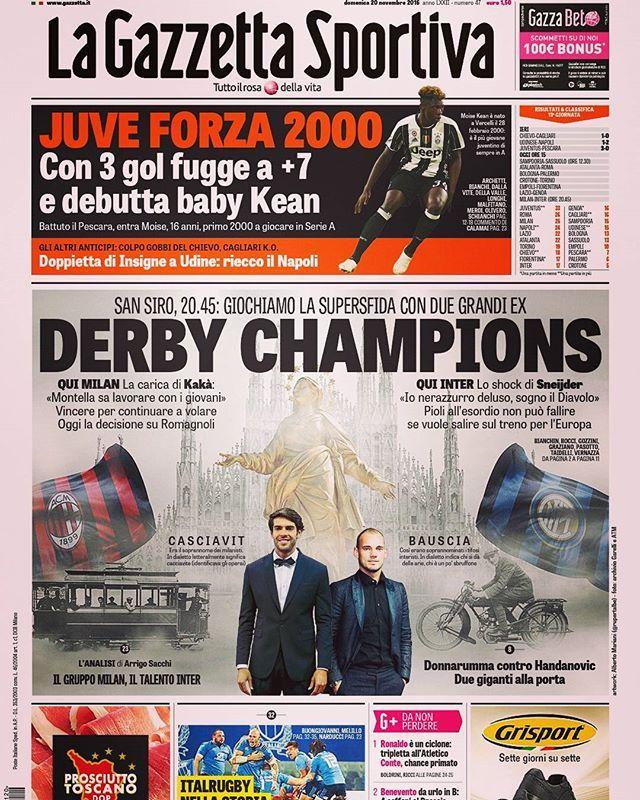 Prima pagina Gazzetta 20/11/2016 San Siro, 20.45 🔴⚫MILAN