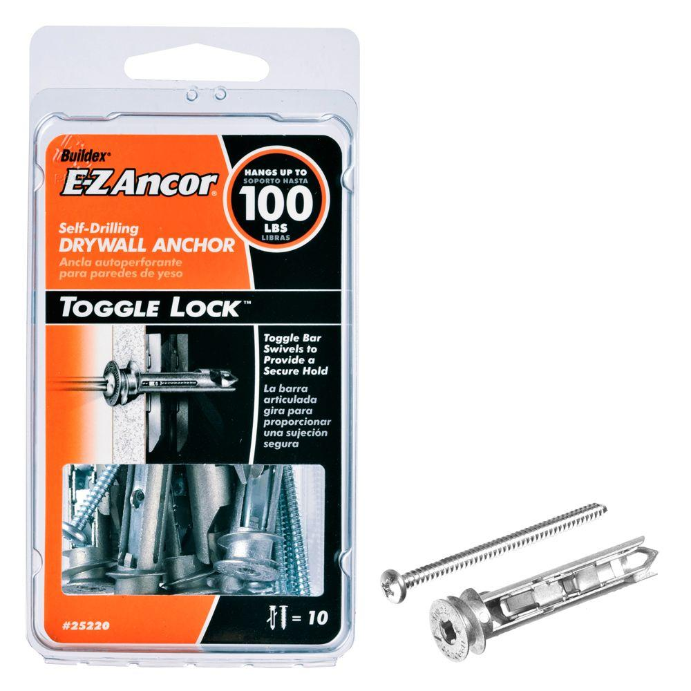 E Z Ancor Toggle Lock 100 Lb Pan Head Philips Heavy Duty Self Drilling Drywall Anchors With Screws 10 Pack 25220 The Home Depot Drywall Anchors Drywall Toggle Bolts
