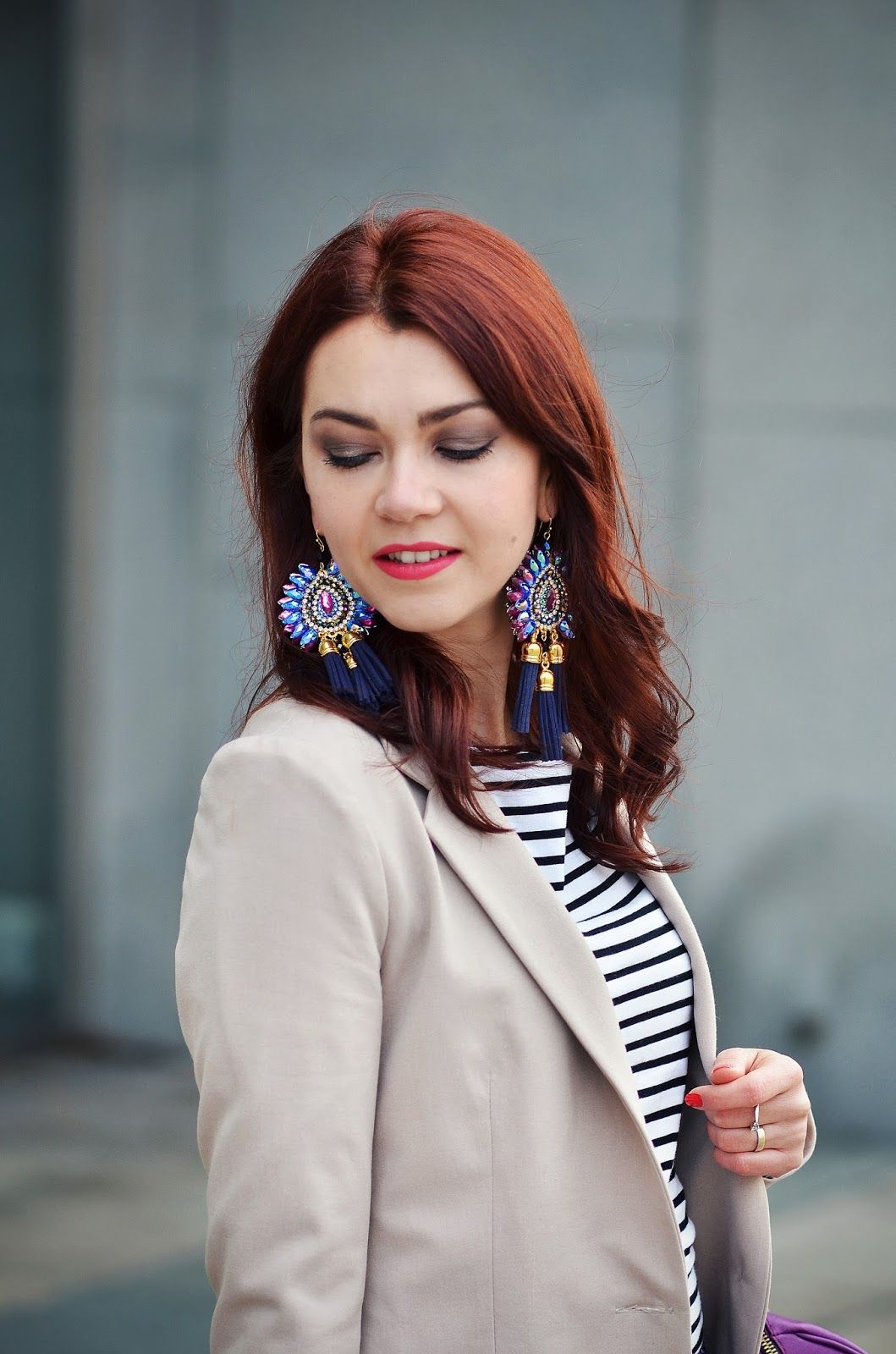 Beige blazer, stripes, luxury earings
