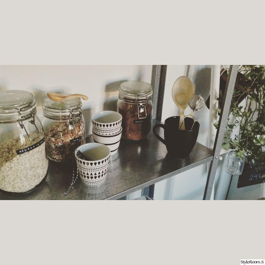 kitchen jars, metallic shelf
