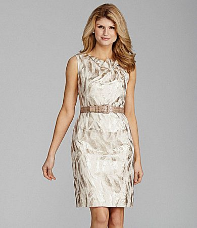 Antonio Melani Patsie Belted Metallic-Jacquard Dress | Dillards ...