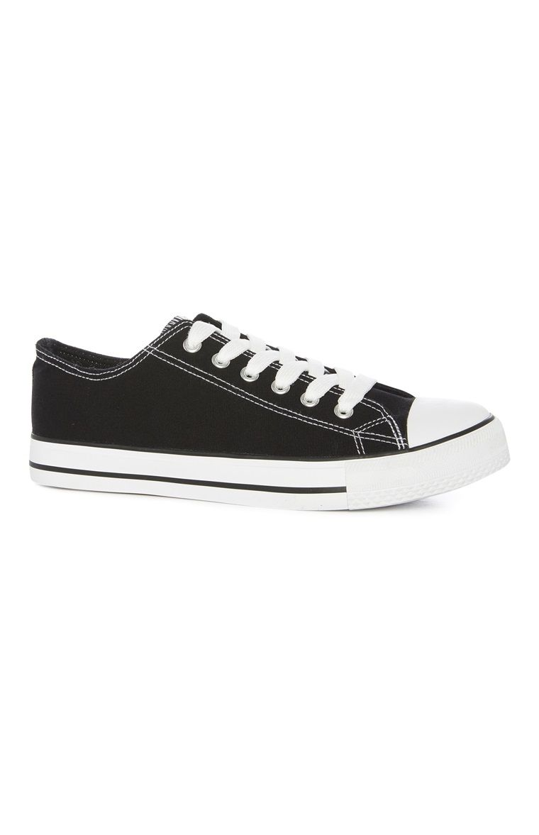 Black Classic Canvas Low Top Trainers