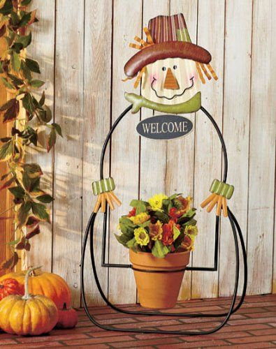 Outdoor Fall Decor: Wire Scarecrow Flower Pot Holder Display [over ...