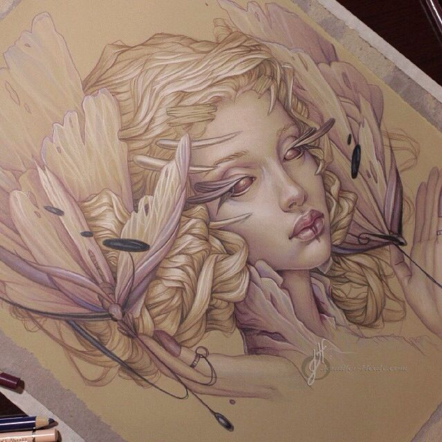Fantasy art drawing sketch colored pencils jennifer healy art