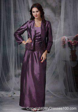 Eggplant Purple Ankle-length Taffeta Mother Of The Bride Dress