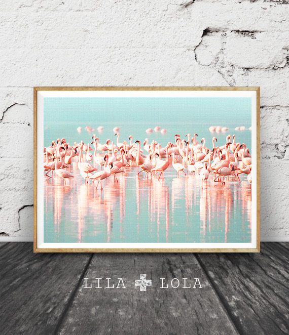 Tropical Wall Art Decor Flamingos Print Flock of by LILAxLOLA & Beach Photography Wall Art Print Digital Download Ariel Photo ...
