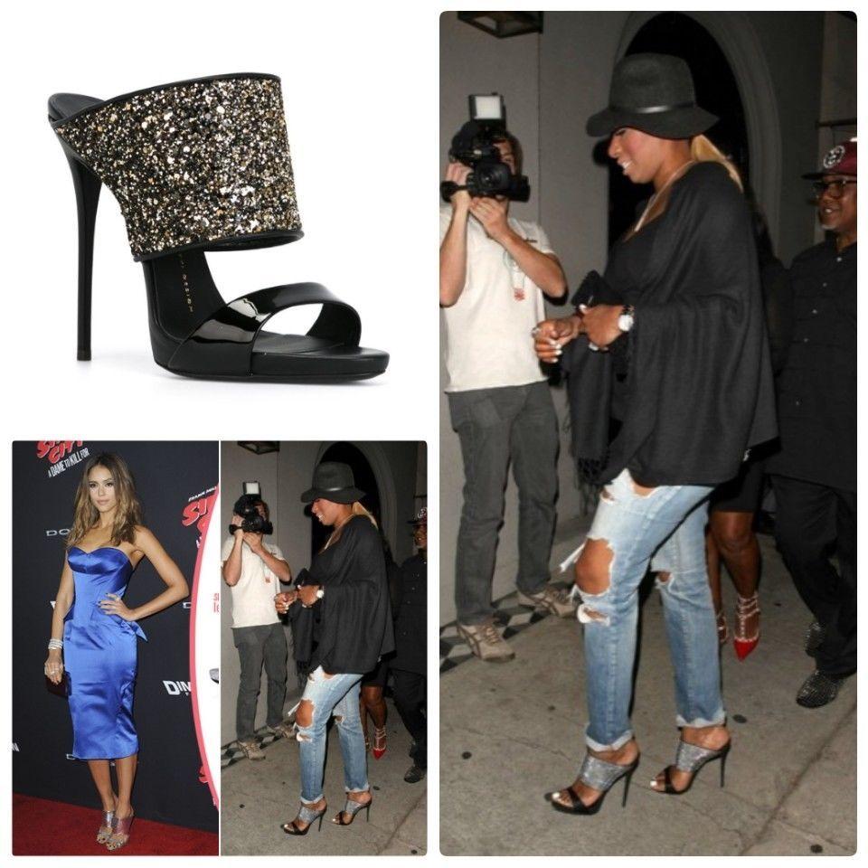 9892b08f550bf ENDING SOON: Giuseppe Zanotti Andrea Leather Mule Stilettos Black Glitter  Heels 36 6 #shoes #designer