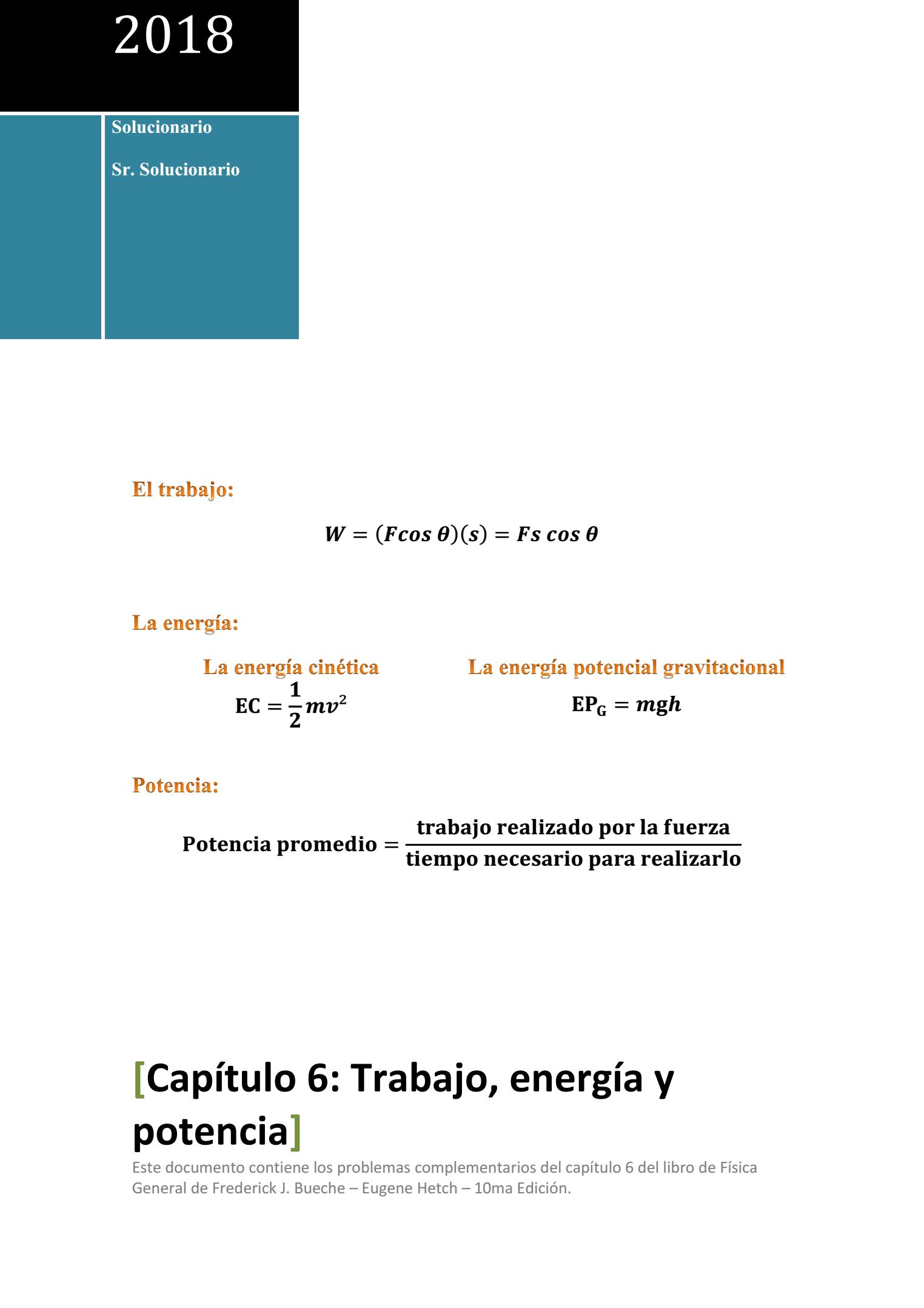 Capítulo 6 Trabajo, energía y potencia in 2020
