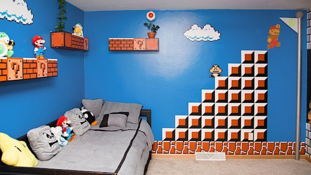 Ht Super Mario Bros Room 01 Jef 130917 16x9 608 Dad Gets 1 Up For Themed Kids Bedroom