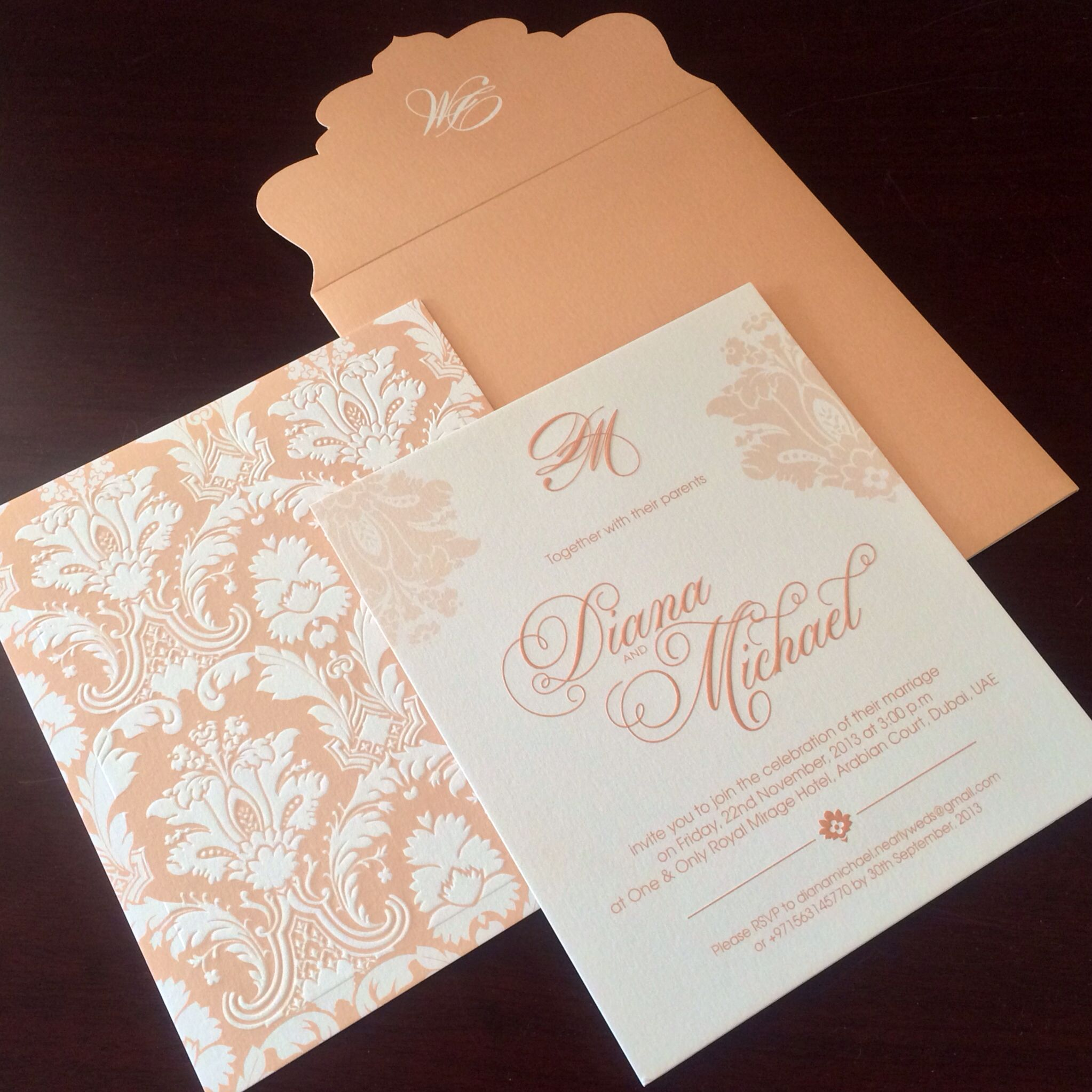 Peach Cream Wedding Invitation Wedding Peach Cream - Birthday invitation maker in dubai