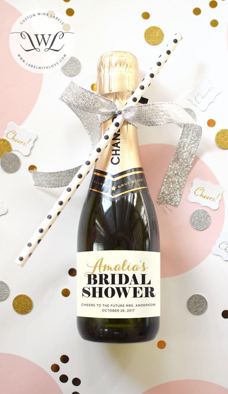 Custom Bridal Shower Mini Champagne Bottle Labels - Weatherproof ...