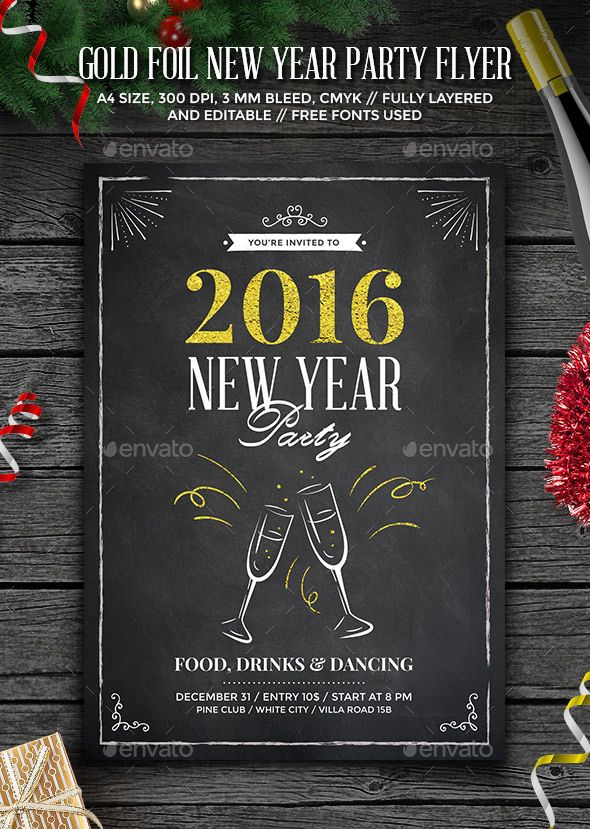 Gold Foil New Year Party Flyer  Party Flyer Flyer Template And Gold