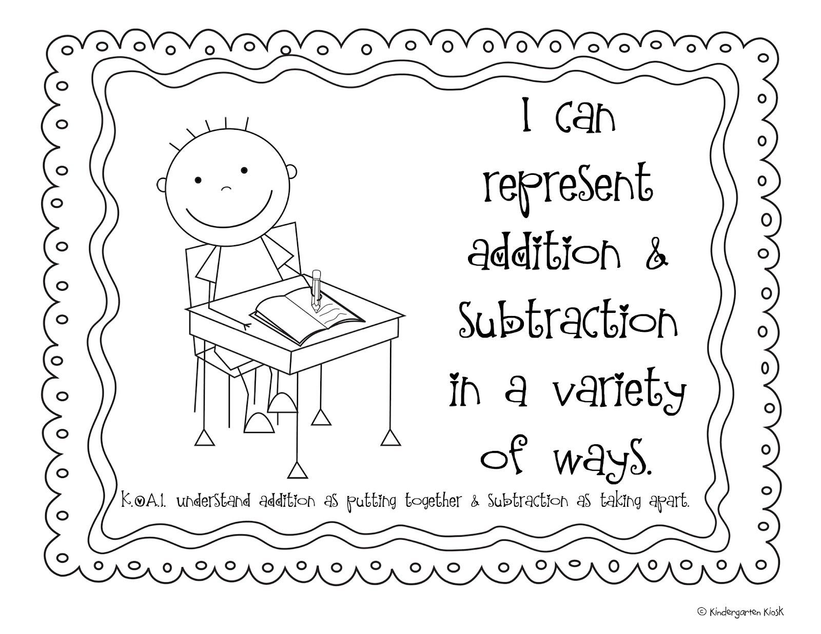 Kindergarten Common Core Posters For Math: Black & White