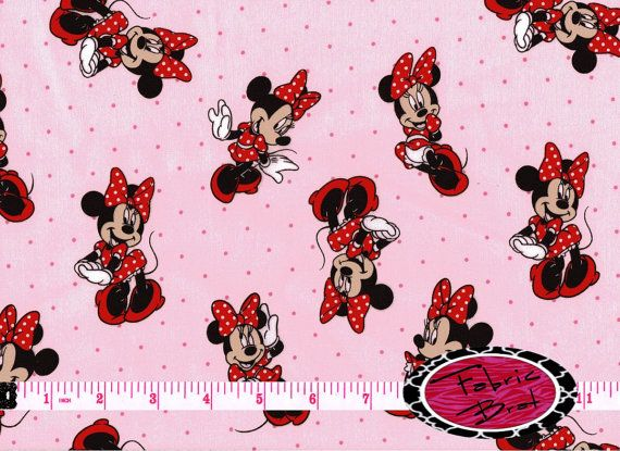 MINNIE MOUSE Fabric by the Yard Half Yard or Fat Quarter DISNEY Fabric Pink & Red Minnie Fabric 100% Cotton Quilting Apparel Fabric t5-7