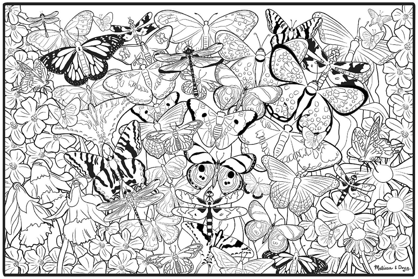 butterflies color-coded coloring pages | coloring for adults ...