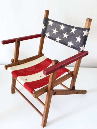 Charmant Vintage American Flag Folding Chair