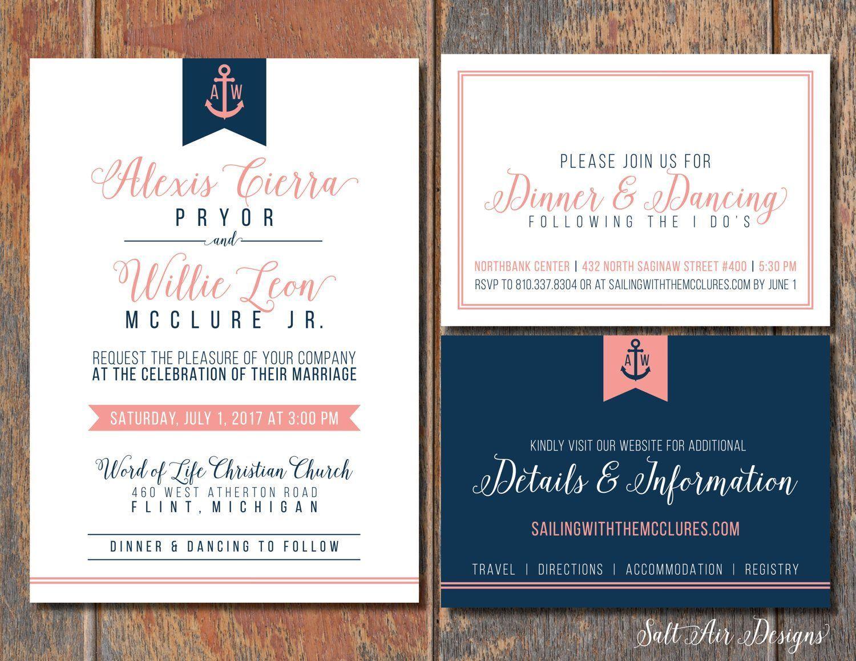 Printable Nautical Wedding Invitation Suite. Anchor. Coral & Navy ...