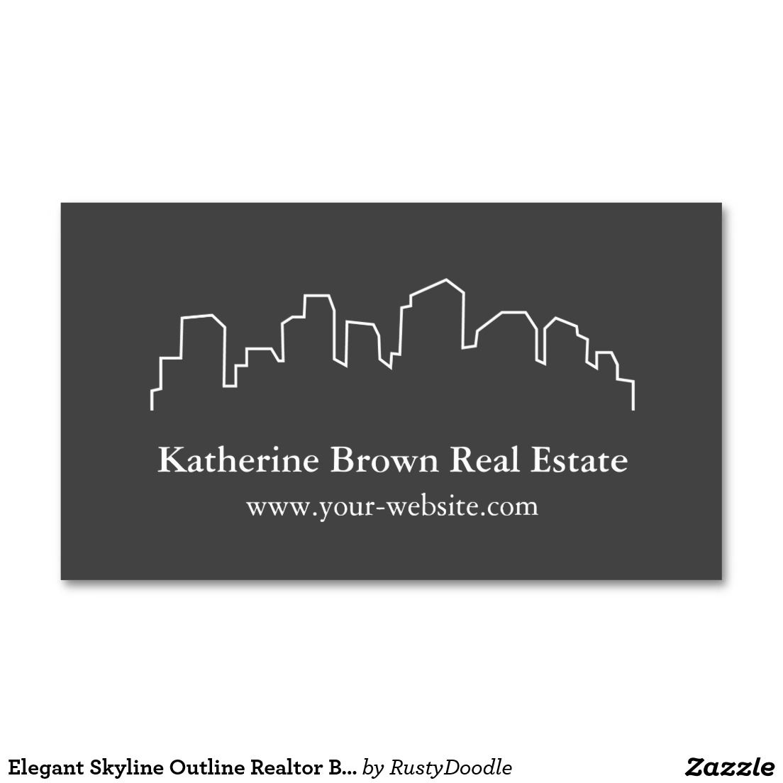 Elegant skyline outline realtor business cards strictly business elegant skyline outline realtor business cards colourmoves