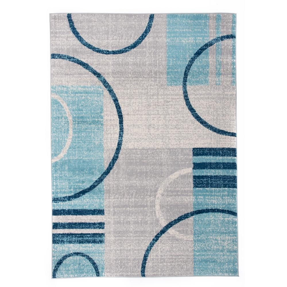 World Rug Gallery Abstract Contemporary Geometric Circles Design 7 Ft 10 In X 10 Ft Blue Area Rug With Images Rug Gallery Circle Rug Blue Gray Area Rug