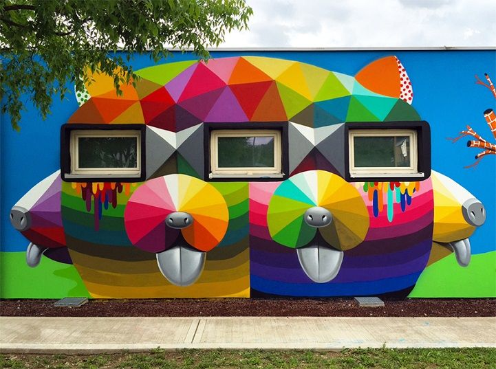 Okuda San Miguel Covers Kindergarten Walls with Cheerful, Colorful Graphics