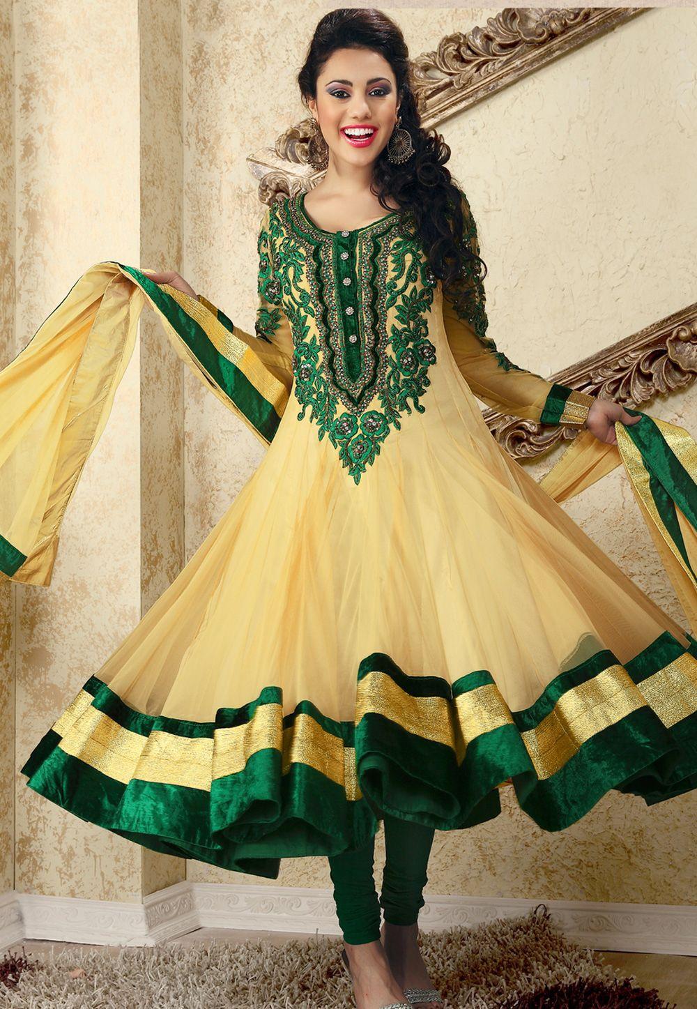 Light #Yellow Net #Churidar Kameez @ $282.10