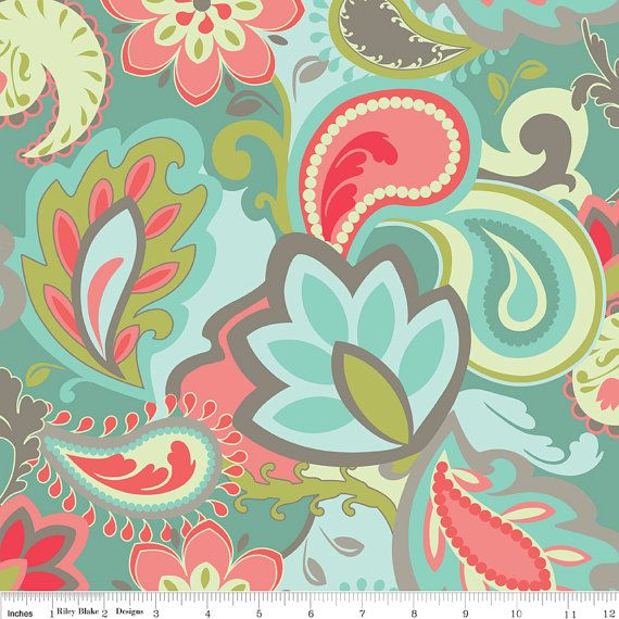 Pink Turquoise Girly Chic Floral Paisley Pattern Rug By: Verona RB Fabric Big Flowers Floral Paisley Leaves Vine