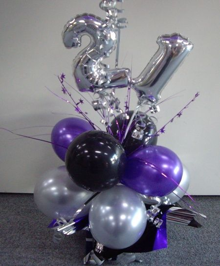 Number gift or centrepiece add helium balloons and voila