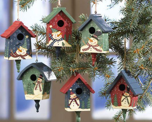 Country Birdhouses W/ Snowmen Christmas Ornaments