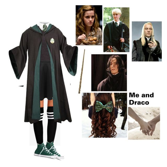 """""""me draco dad and Lucius walking around hogwarts"""" by maddiemoxly ❤ liked on Polyvore featuring Boohoo and Converse"""