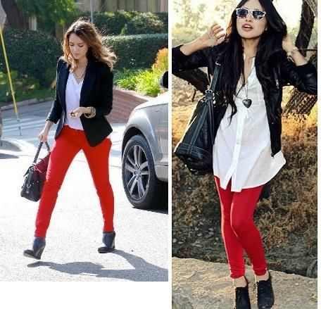 Cu00f3mo combinar un pantalu00f3n rojo   Casual fall outfits ...