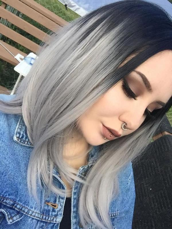 black to gray shoulder length bob style lace front wig