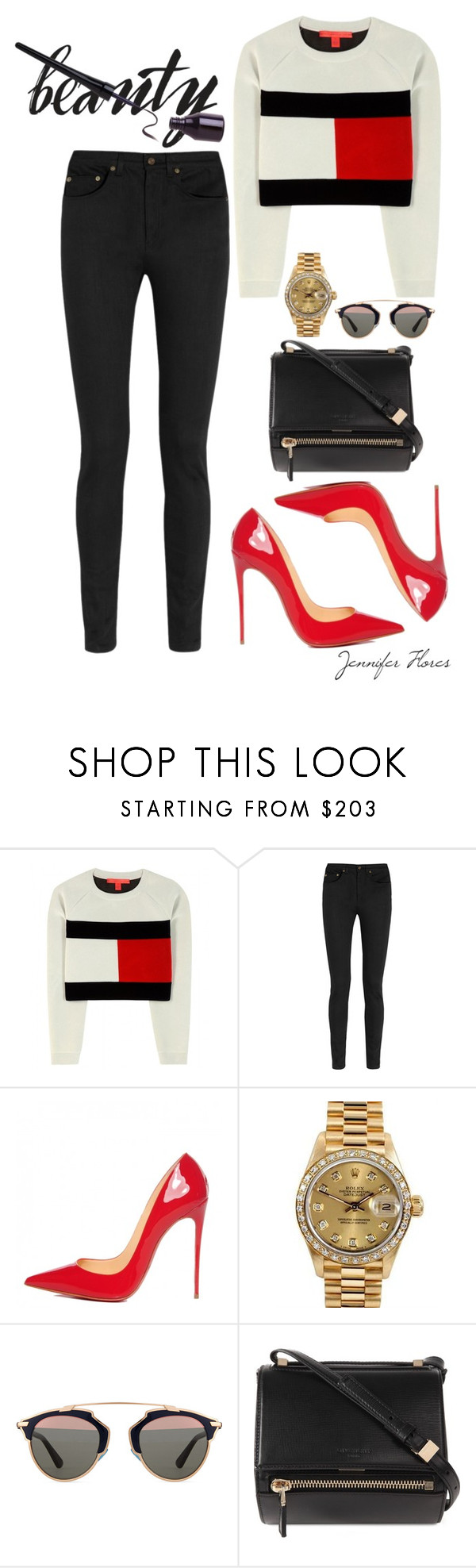 """""""beauty."""" by jenniferfls on Polyvore featuring moda, Tommy Hilfiger, Yves Saint Laurent, Christian Louboutin, Rolex, Christian Dior y Givenchy"""