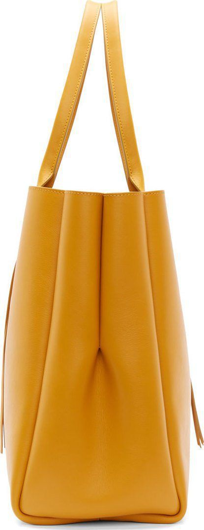 Lanvin Golden Yellow Calf Leather Fringed Shopper Tote Bag Side View