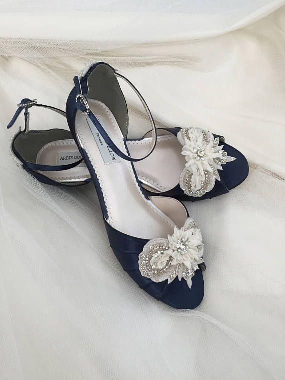 Navy Blue Wedge Wedding Shoe 1 Inch Heel Wedding Shoe Navy Blue Wedding Shoes Wedding Shoes Heels Wedge Wedding Shoes