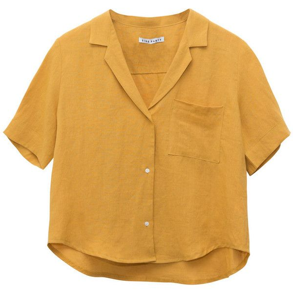 SIDE PARTY Philosopher Linen Shirt Mustard LISA SAYS GAH ❤ liked on Polyvore featuring tops, linen tops, button up collared shirts, linen shirts, brown top and mustard shirt