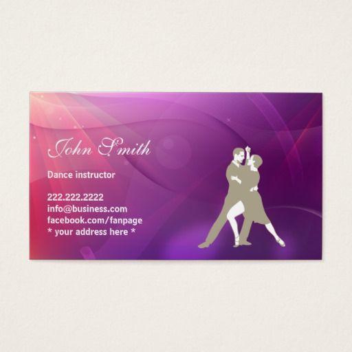 Dance Instructor Dancer Modern Purple Background Business Card Zazzle Com Dance Instructor Cards Dance